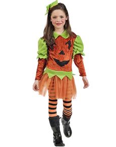 Griezelig pompoen kostuum voor meisjes